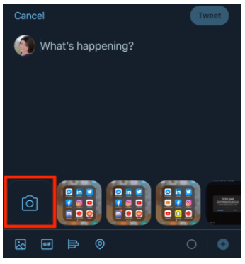 camera icon on Twitter