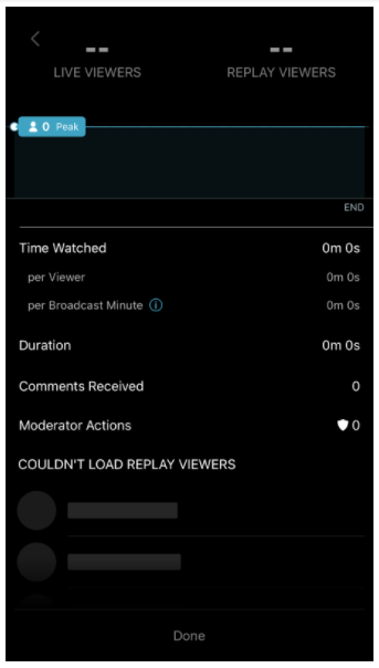 View Stats screen on Twitter Live