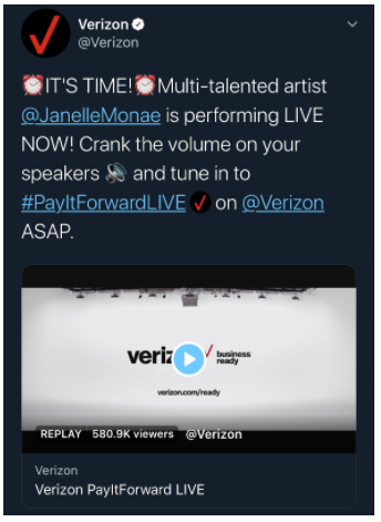 Verizon tweet promoting a Twitter Live with clock emojis