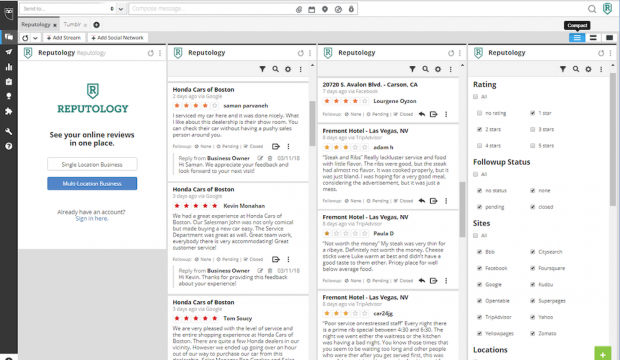 Screenshot of the Reputology social media monitoring tool in Hootsuite