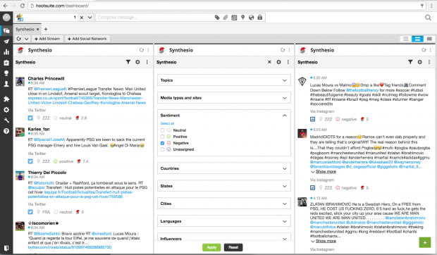 Screenshot of Synthesio in Hootsuite