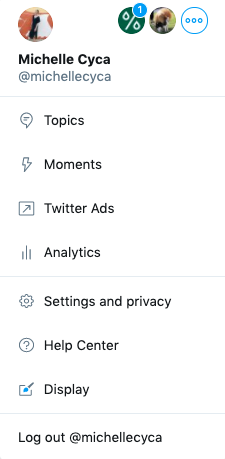 Multiple twitter accounts at the top of author's Twitter profile