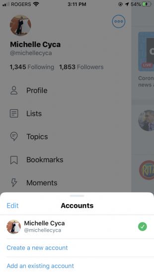 accounts menu on Twitter