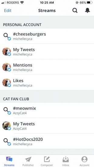 Twitter streams on Hootsuite mobile