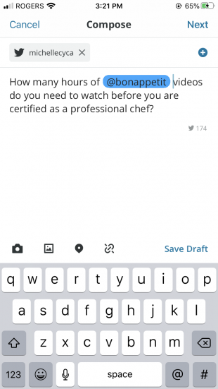 Tweet draft in Hootsuite Compose