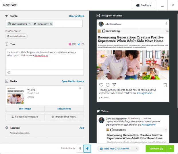 Hootsuite's social media scheduling feature