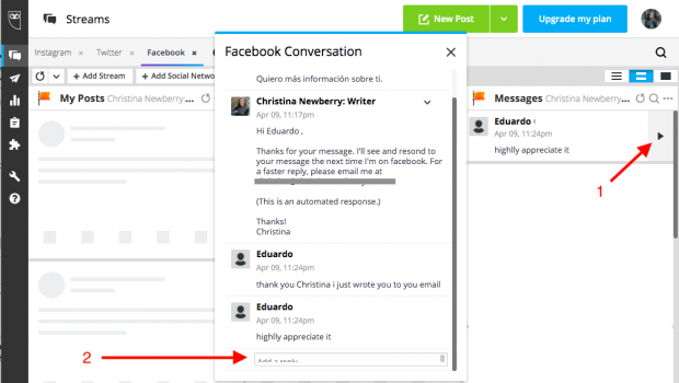 Message reply option in the Hootsuite dashboard