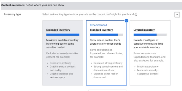 content exclusions options for youtube ads