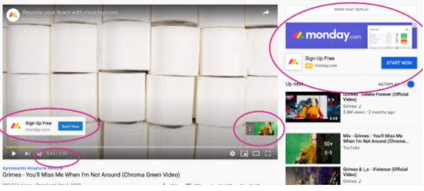 YouTube ad overlays by Monday.com