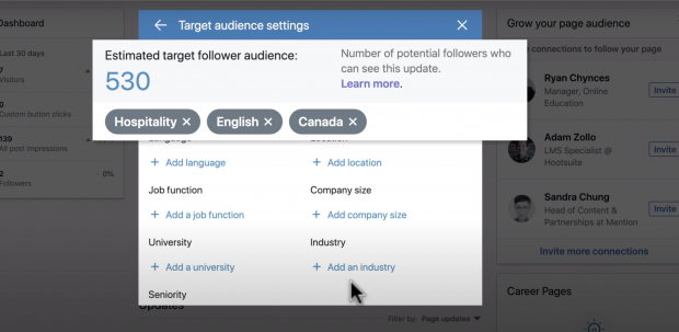 LinkedIn post target estimates