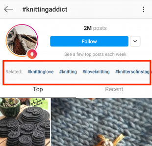 Instagram related hashtag feature