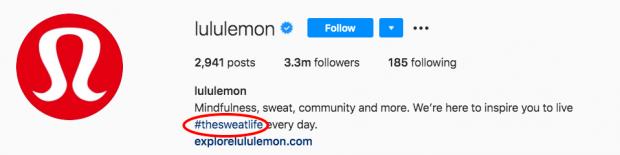 Lululemon's branded hashtag in the Instagram bio section
