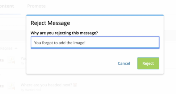 Reject Message with space for reason in Hootsuite dashboard