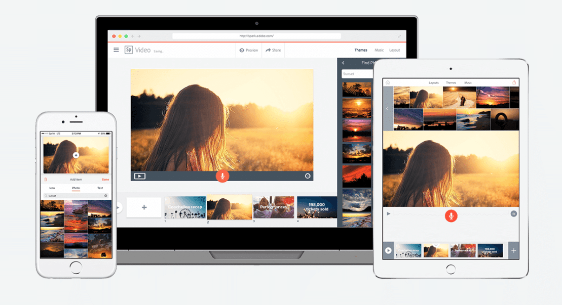 Adobe Spark on iPhone, desktop, and iPad