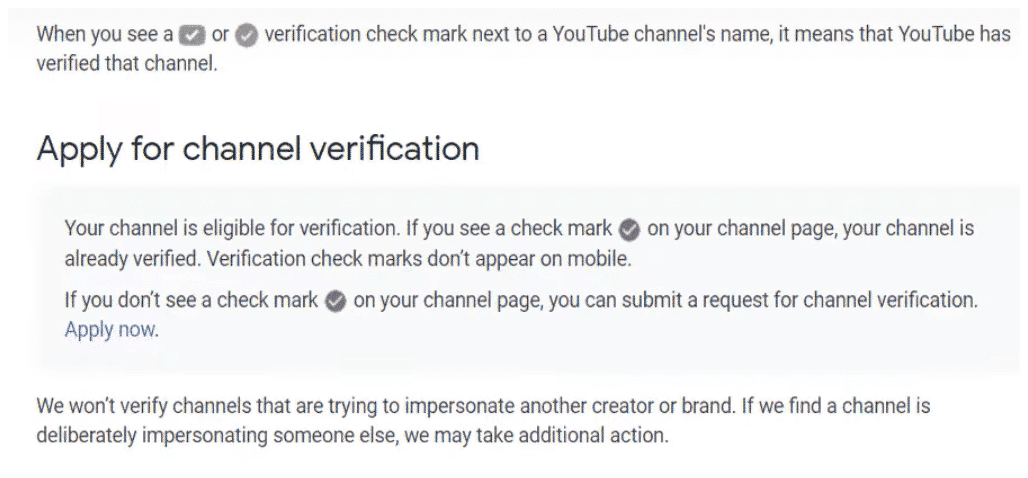 Youtube verification application