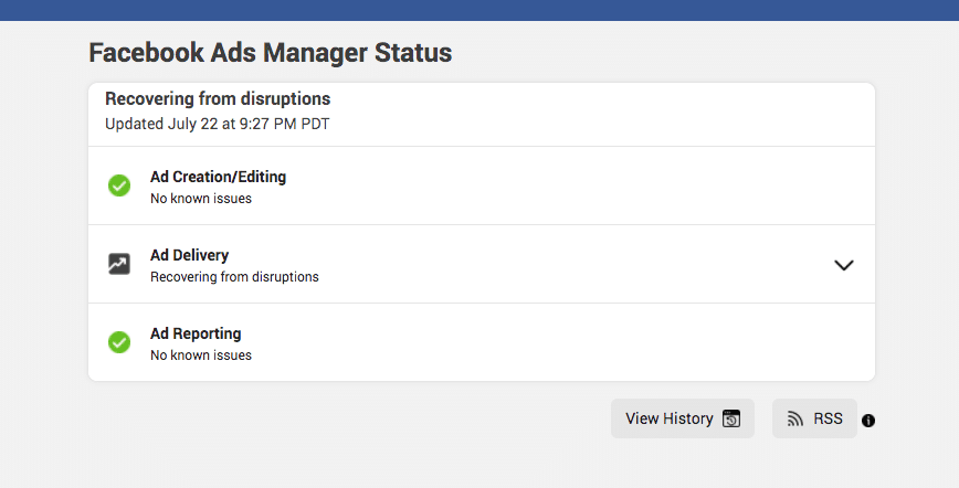 Facebook Ads Manager status tool update