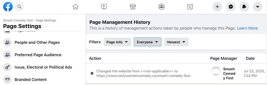 Facebook updates Page Management History feature