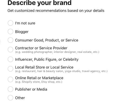Pinterest verification describe your brand