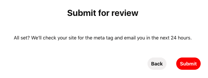 Pinterest submit verification request for review