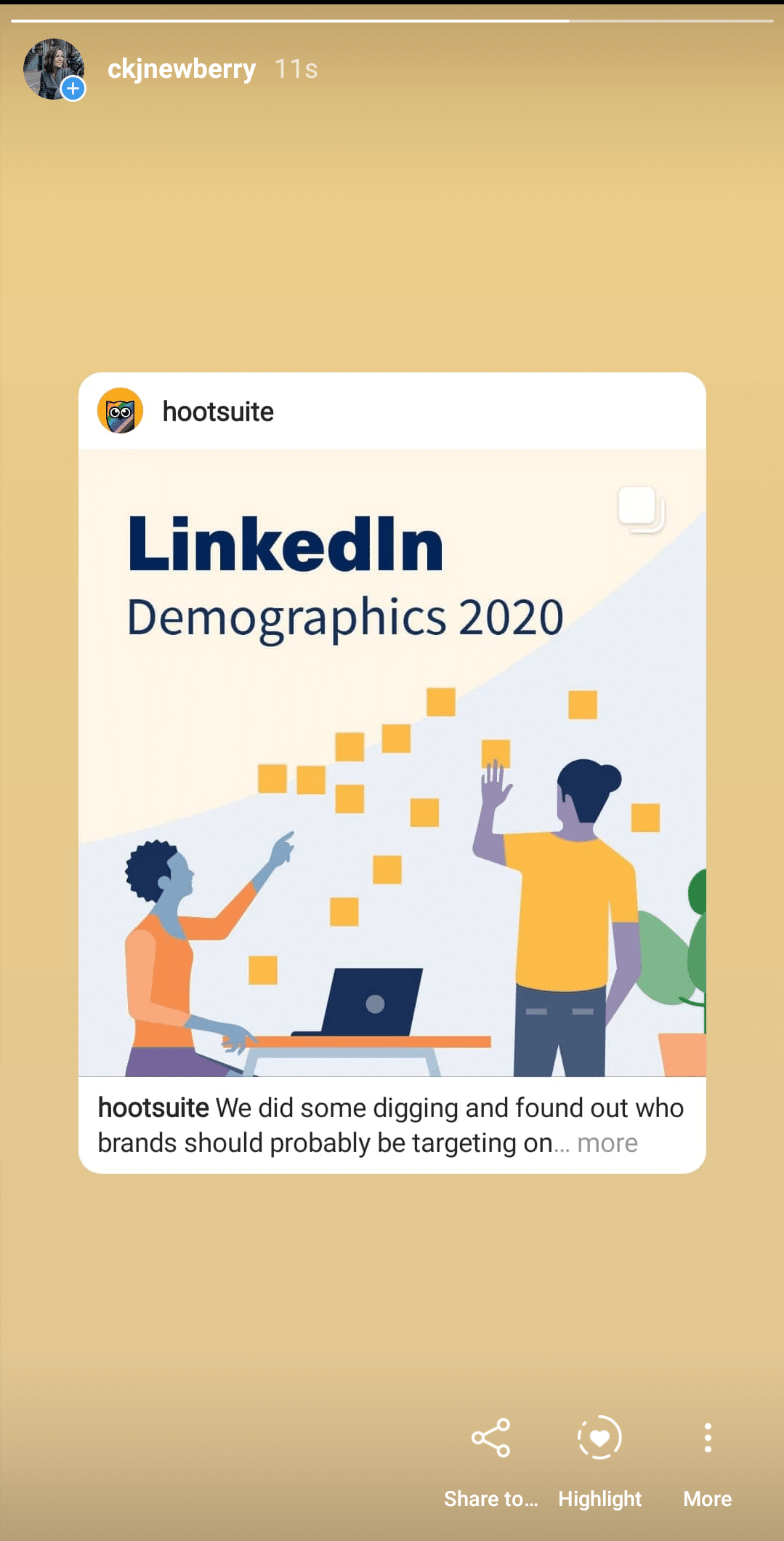 Hootsuite LinkedIn demographics story re-share