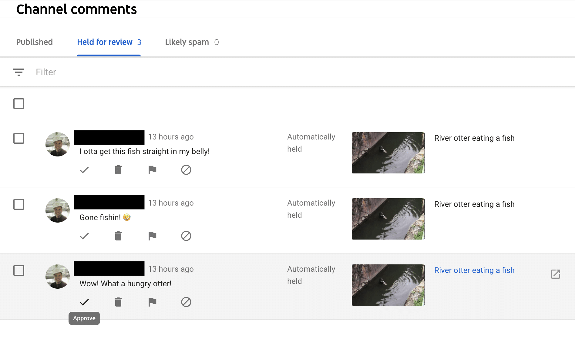 YouTube comments held for review