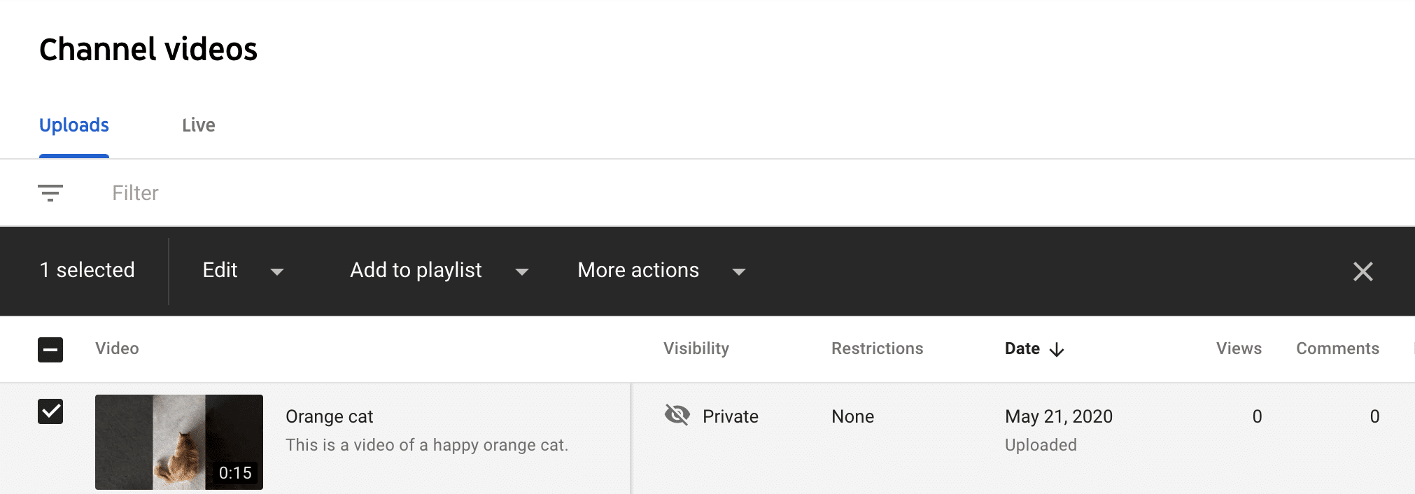 Turn off comments on individual YouTube videos