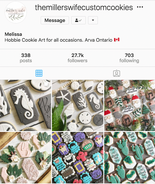 The Millers Wife Custom Cookies Instagram profile