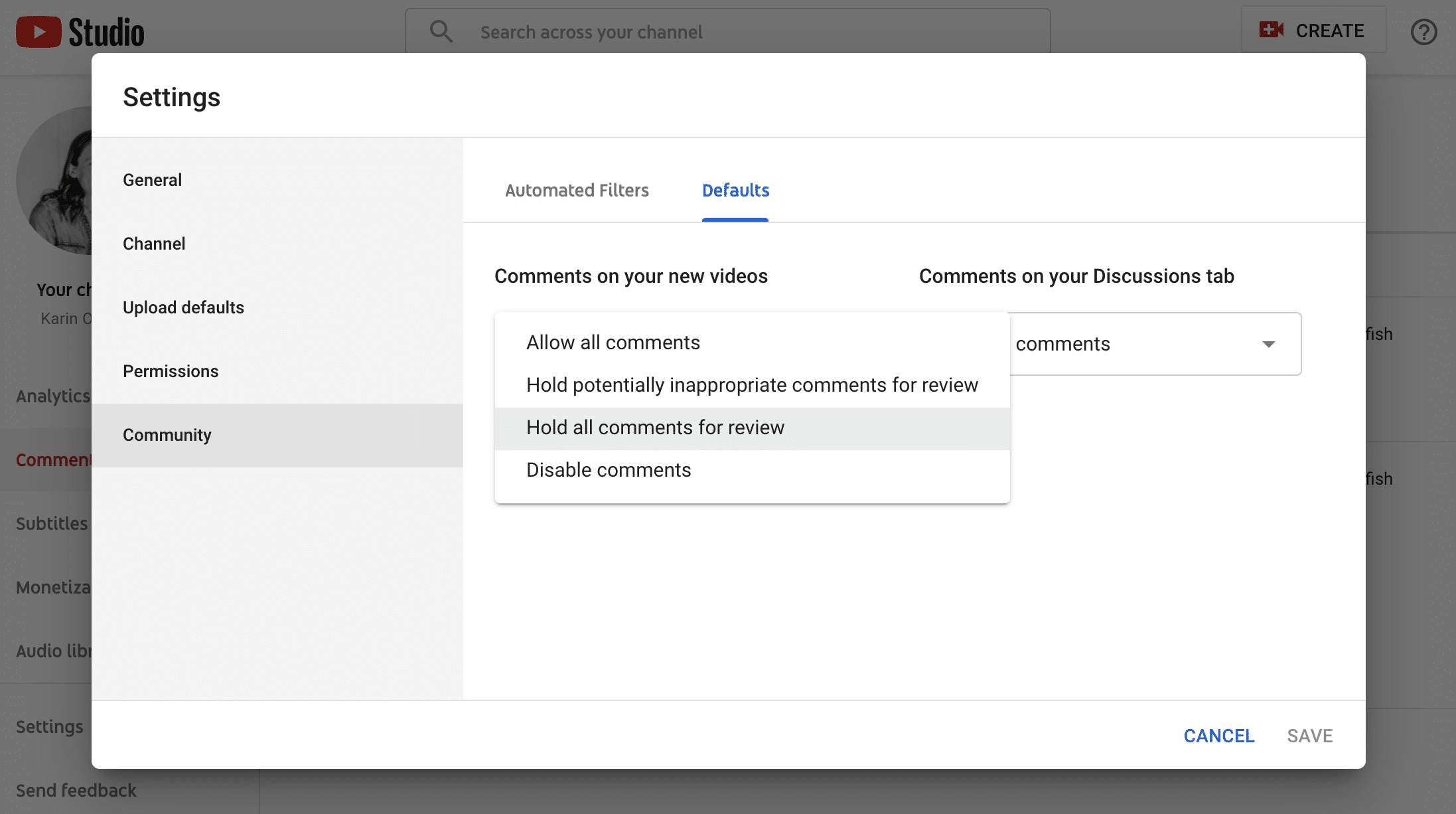 YouTube comments setting options