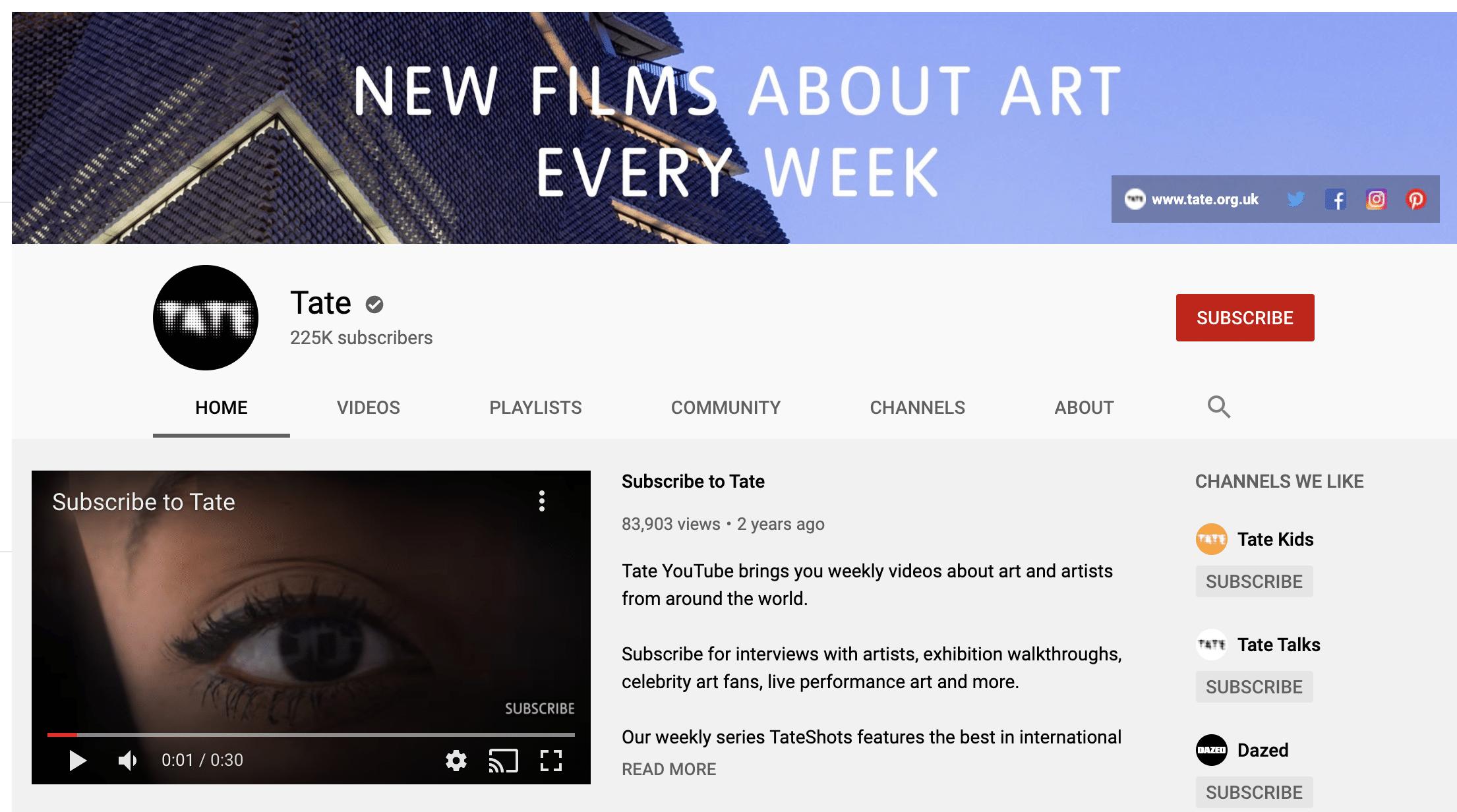 Tate YouTube profile