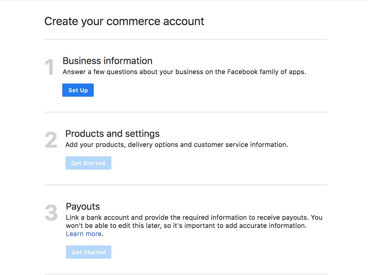 Get Started for Facebook categories