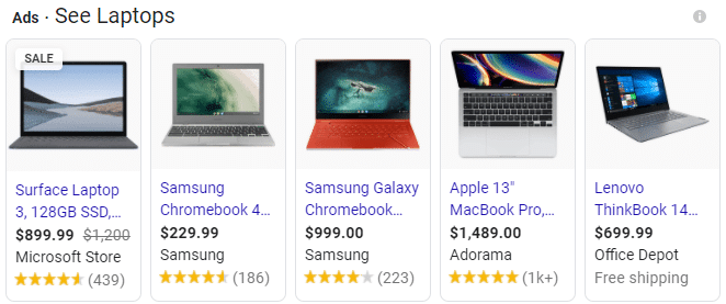 Shopping campaign search results
