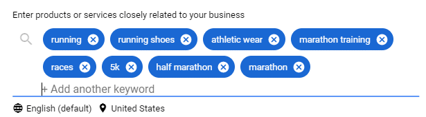 Running shoe store target keywords