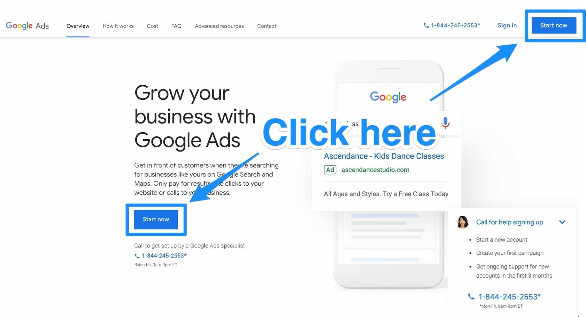 Google Ads homepage Start Now button