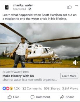 charity:water Facebook ad Scott Harrison