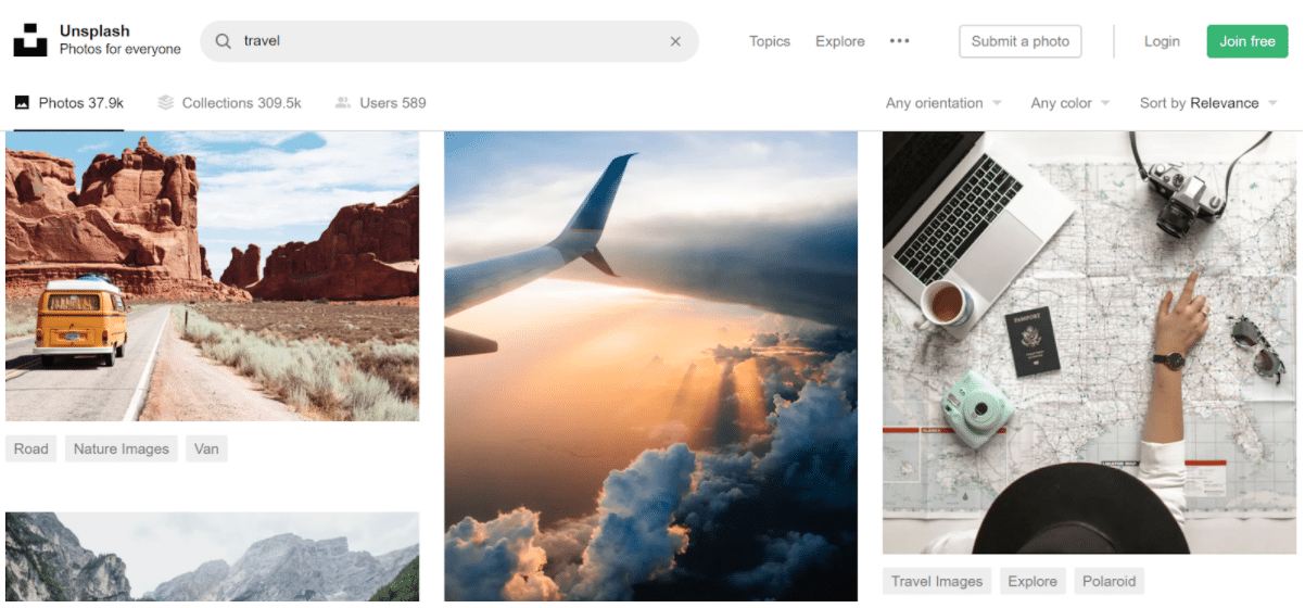 Unsplash stock image website