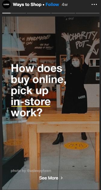 Lush Instagram Stories highlight