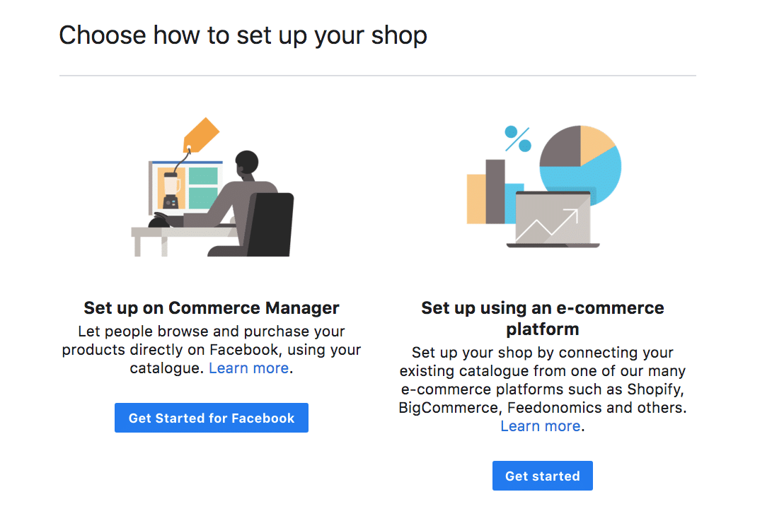 Facebook Shop setup Commerce Manager