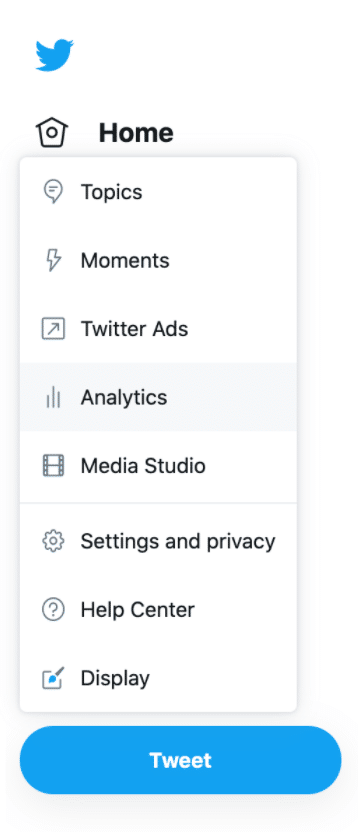 Twitter menu analytics button