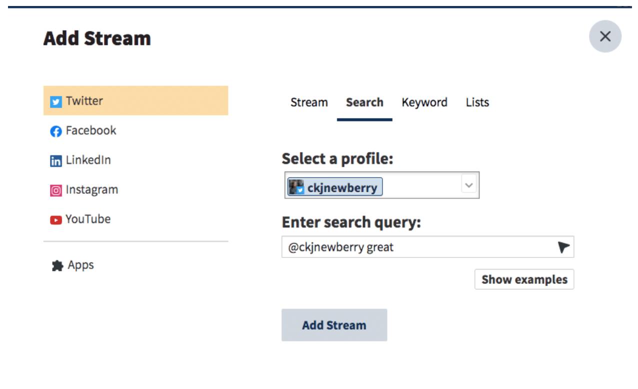 Hootsuite dashboard name positive keyword