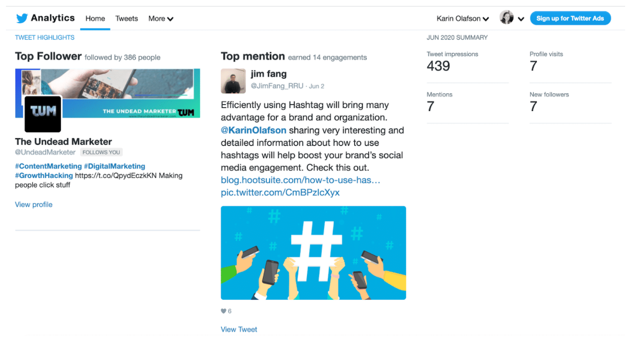 Twitter analytics home dashboard