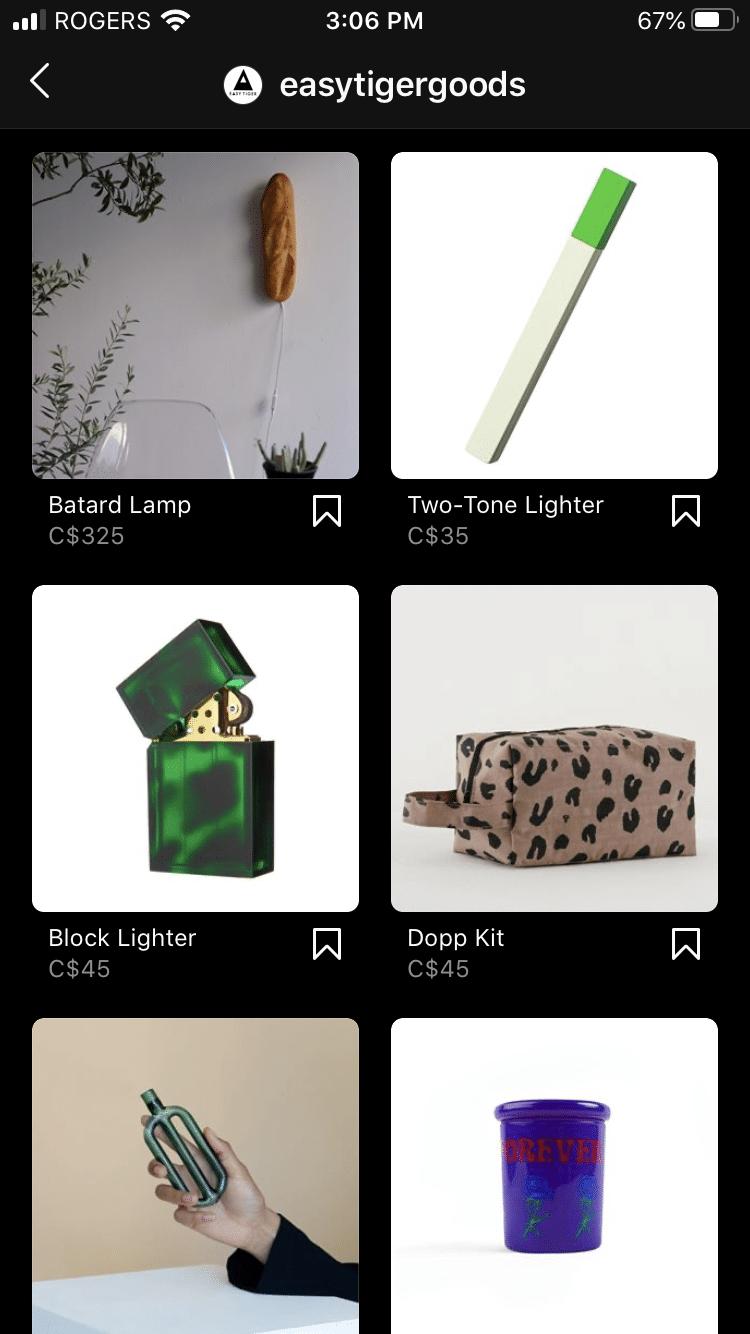 Easy Tiger Goods Instagram shop