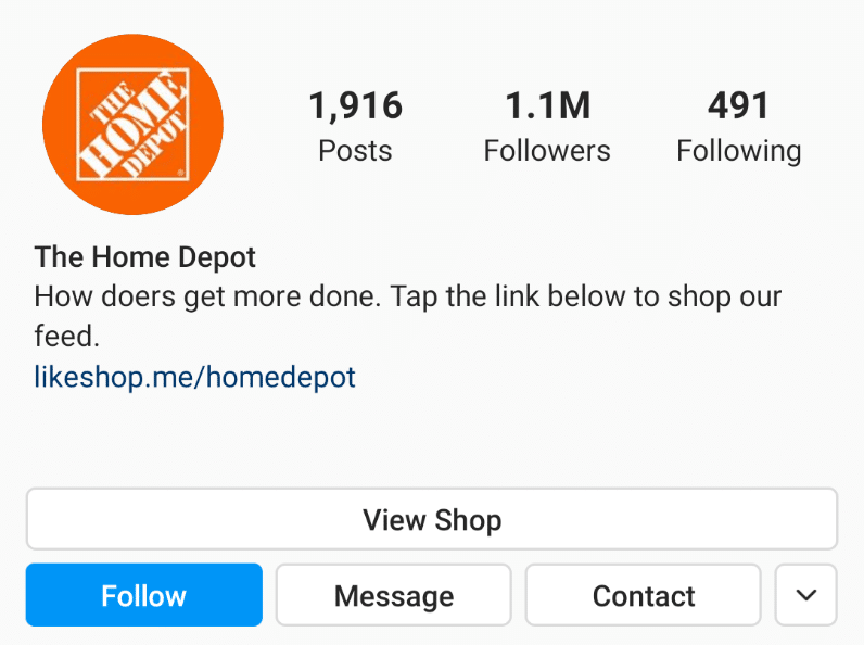 Home Depot Instagram profile photo