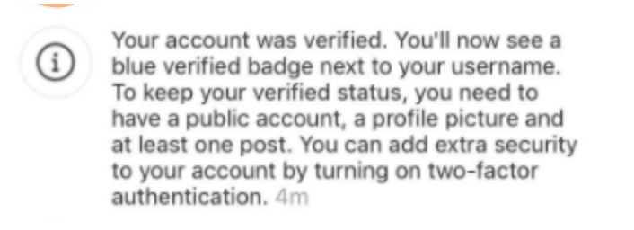 Instagram account meets criteria for verification message