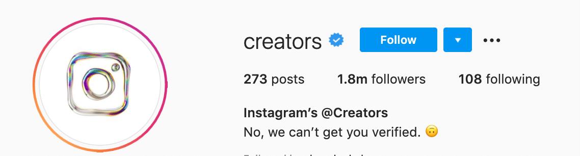 Instagram Creators profile blue checkmark badge