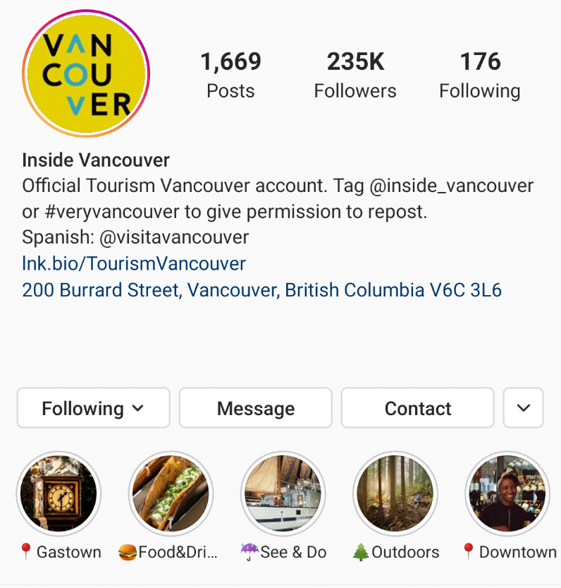 Tourism Vancouver optimizes Instagram profile