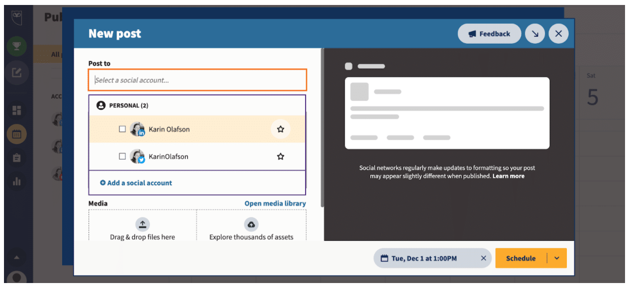 Select which profiles to publish message on