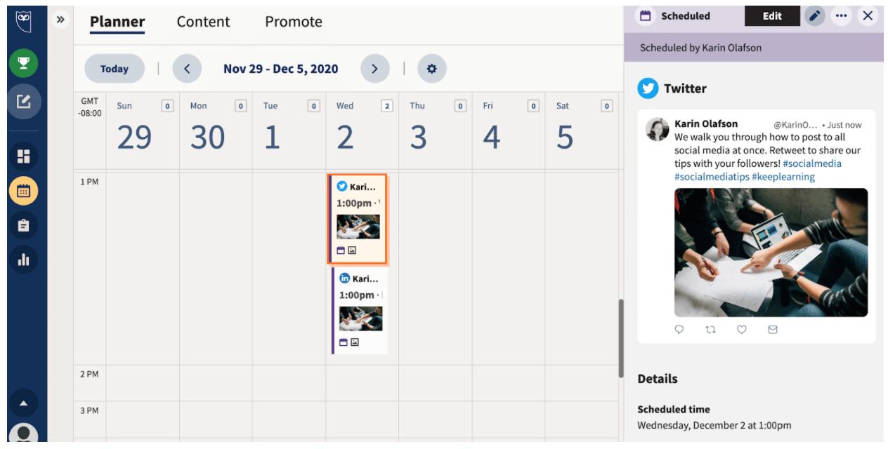 Hit schedule to see scheduled posts in Planner