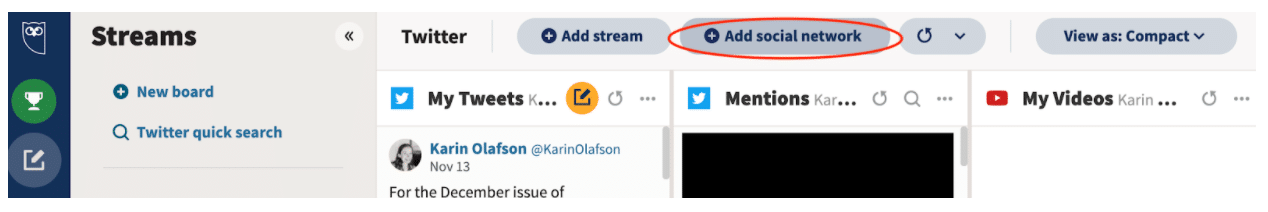 Add social network on Hootsuite dashboard
