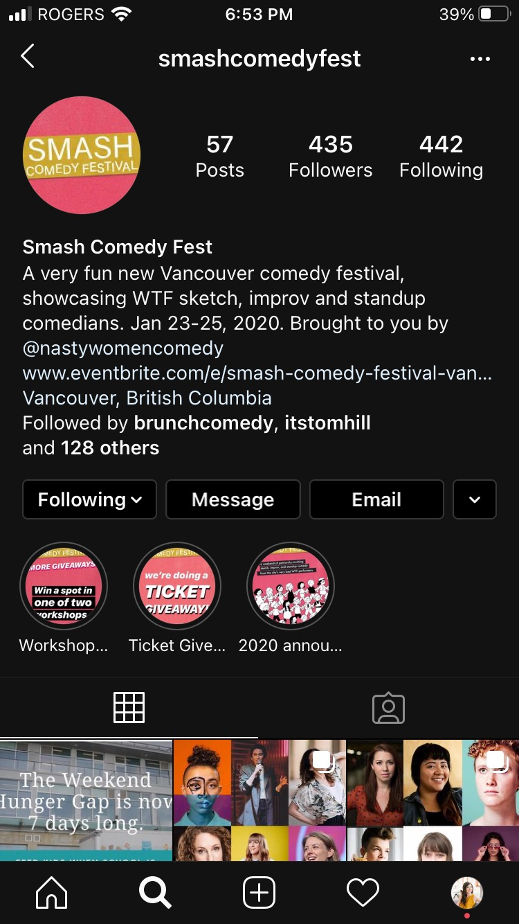 Smash Comedy Fest account homepage