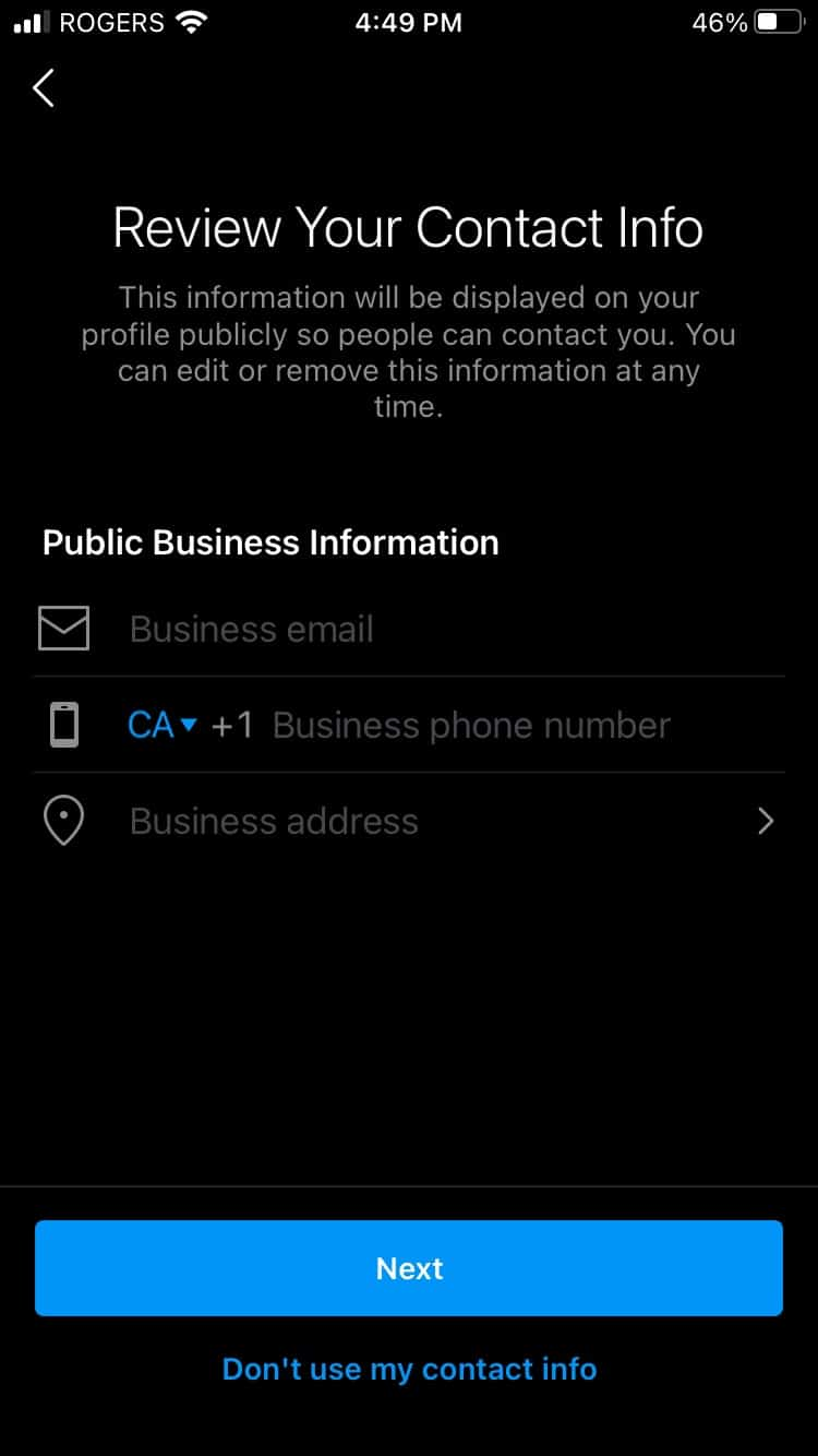 Review public business contact information
